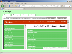 The MooTools test suite, instrumented using JSCoverage
