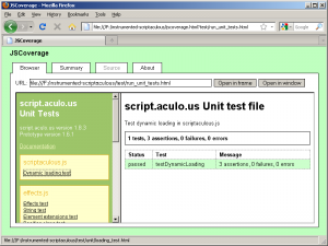 The script.aculo.us test suite, instrumented using JSCoverage