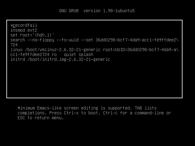 Editing the kernel command line
